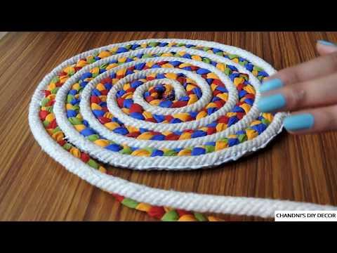 Easy Rug Making At Home Using Rope And Fabric || DIY Doormat || घर में mat बनाने का आसान तरीका।