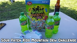 Sour Patch Kids With Mountain Dew For Milk Challenge