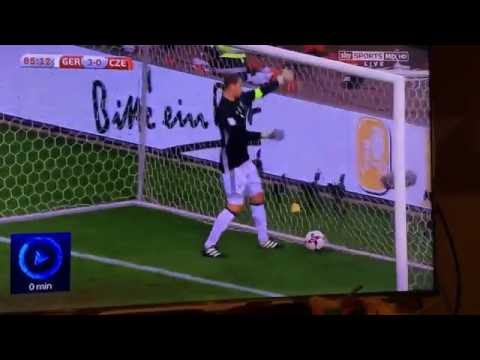 Manuel Neuer gets hit in the face with football during Germany game! Germany vs Czech Republic