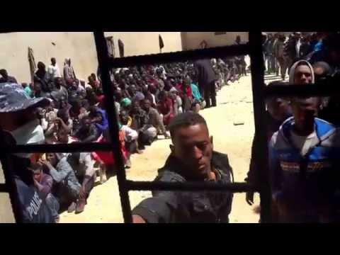 A Libyan migrant detention centre, April 2015