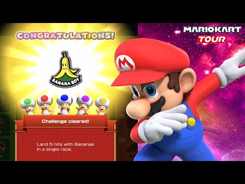 How To Land 5 Hits With Bananas In One Race - Mario Kart World Tour Help And Tricks Walkthrough