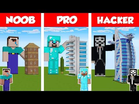 Minecraft NOOB vs PRO vs HACKER: MODERN SKYSCRAPER HOTEL - HOUSE BUILD CHALLENGE in Minecraft