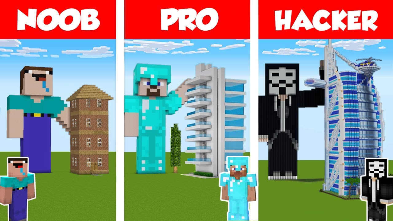 Minecraft NOOB vs PRO vs HACKER: MODERN SKYSCRAPER HOTEL - HOUSE BUILD CHALLENGE in Minecraft