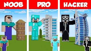 Minecraft NOOB vs PRO vs HACKER MODERN SKYSCRAPER HOTEL - HOUSE BUILD CHALLENGE in Minecraft