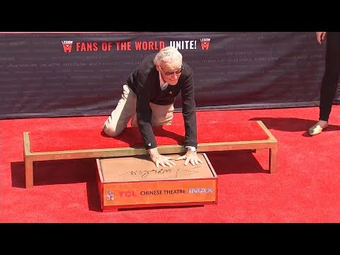 Stan Lee Adds Handprints to Grauman's Chinese Theater Concrete in Ceremony