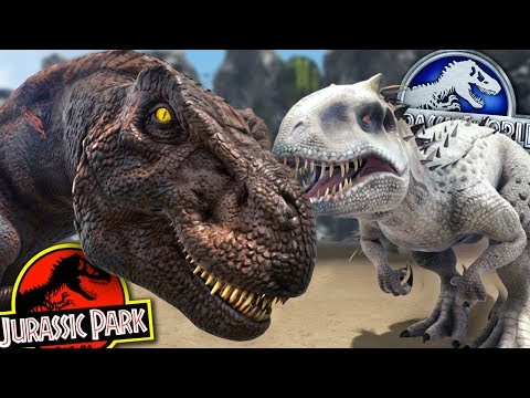 INDOMINUS REX Vs REXY - JURASSIC PARK FRANCHISE BATTLE!! - ARK Survival Evolved