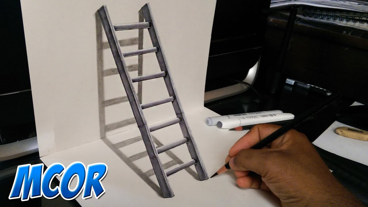 Como dibujar una escalera en 3d ilusi n optica youtube for Escaleras 3d max