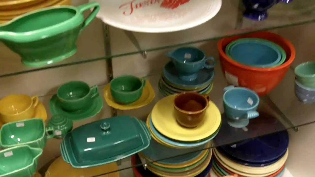 Fiesta dinnerware vintage Fiestaware china inside our antiques mall. - YouTube & Fiesta dinnerware vintage Fiestaware china inside our antiques mall ...