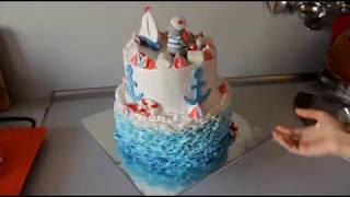 Как Украсить Двухъярусный Торт Сборка И Украшение Детский Торт В Морском Стиле