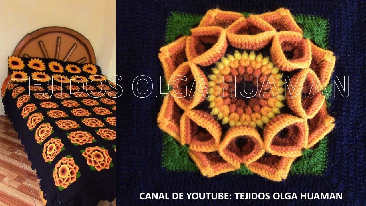 Cuadrado a muestra de flor a crochet para colchas en punto garbanzos ...