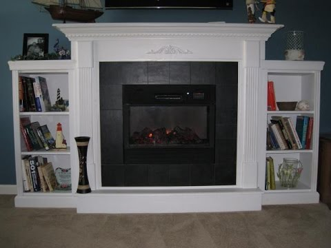 Electric Fireplace with Mantel and Shelves