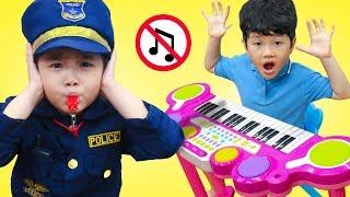 Hana & Tony Pretend Play as Kid Cop Police Officer Ride On Car