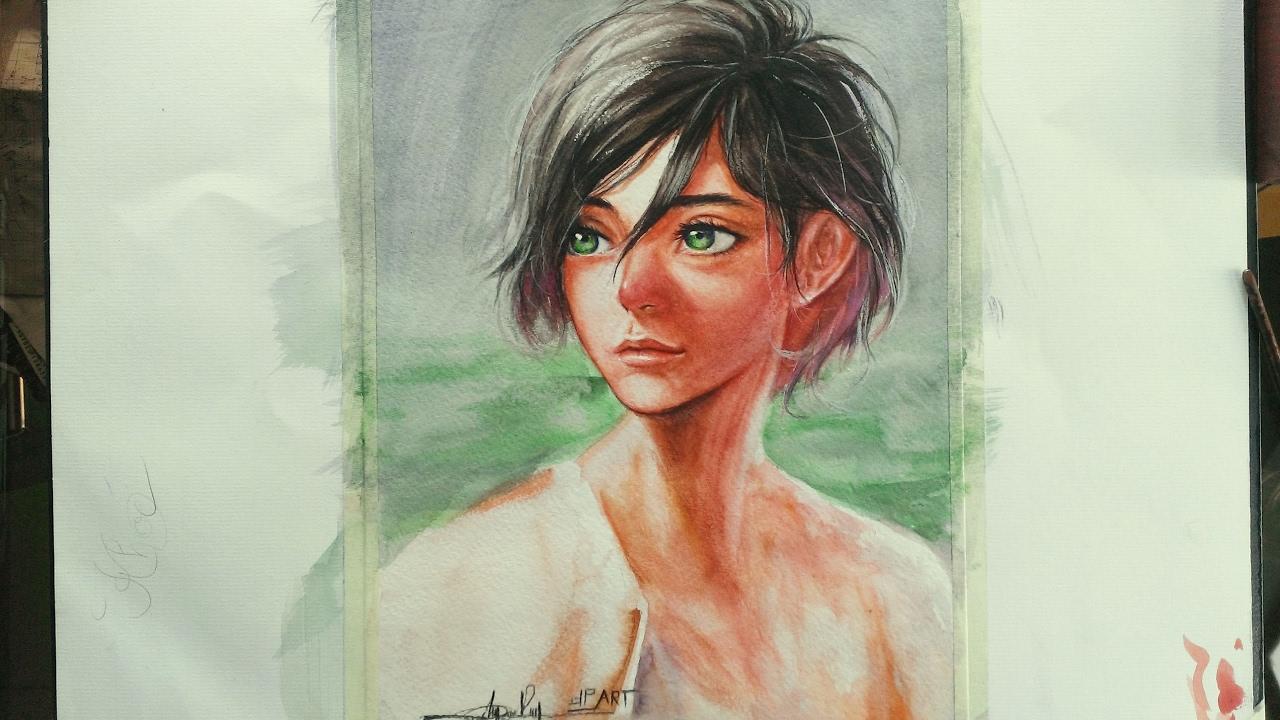 Watercolor drawing – Vẽ chân dung bằng màu nước – DP Truong