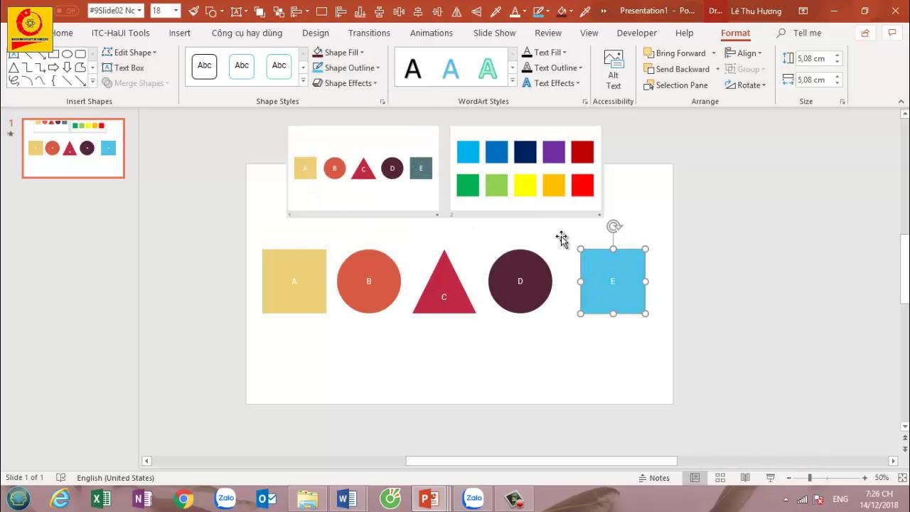 Vẽ hình, sắp xếp các đối tượng trong Powerpoint 2016