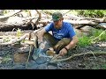 Catch and Cook Fish With Your Bare Hands And Bushcraft Waterwheel  Part 2  (87 Days Ep. 30) Alewife