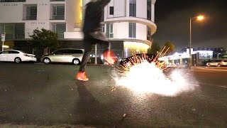 JUMPING OVER FIREWORKS IN $5,000 YEEZYS!!