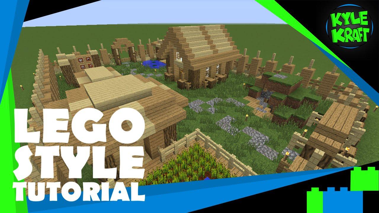 Minecraft | LEGO Style Tutorial | 29x22 Survival Base