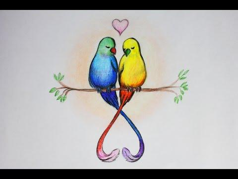 Уроки рисования. Рисуем влюбленных птиц. День святого Валентина