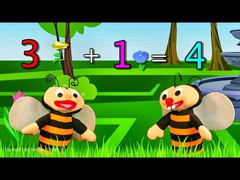 Aprendiendo a Sumar Los números del 0, 1, 2, 3 y 4 - Sumar y Restar - Las Abejitas Sumadoras