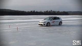 Swedish Adventure: VW Golf R Avoiding a 'Moose' on a Frozen Lake