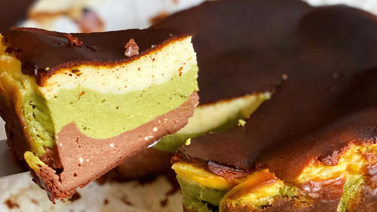 Triple Layer Basque Burnt Cheesecake Recipe Matcha Green Tea Dark Chocolate Oozy Cream Cheese Youtube