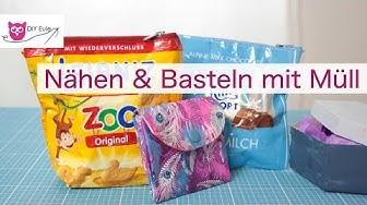 3 Projekte mit Müll / Milka-Tasche nähen / Tetrapack Portemonnaie – DIY Eule