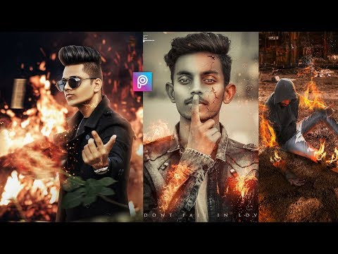 PicsArt Fire Concept Photo Editing Tutorial in Picsart Step by Step in Hindi - Fire Photo Editing thumbnail