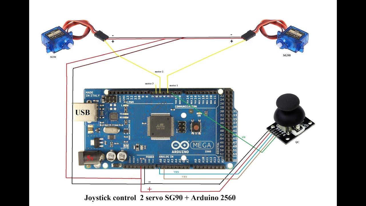 arduino mega 2560 joystick control 3 servo sg90 xyz youtubearduino mega 2560 joystick control 3 servo sg90 xyz
