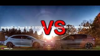 Peugeot 308 GTi 2016 vs Honda Civic TypeR 2017 - DragRace