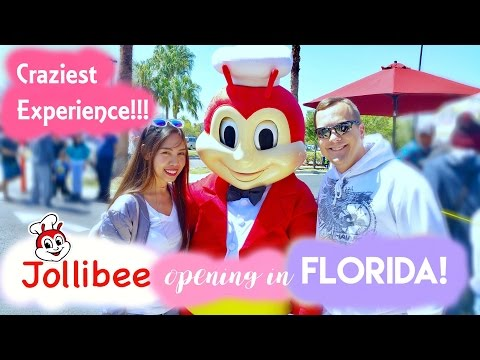 FIRST TIME TRYING JOLLIBEE IN THE US! (Jollibee Opening in Florida)