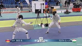 2018 1234 T128 M F Individual Halle GER European Cadet Circuit BLUE SEE GER vs TOTH HUN