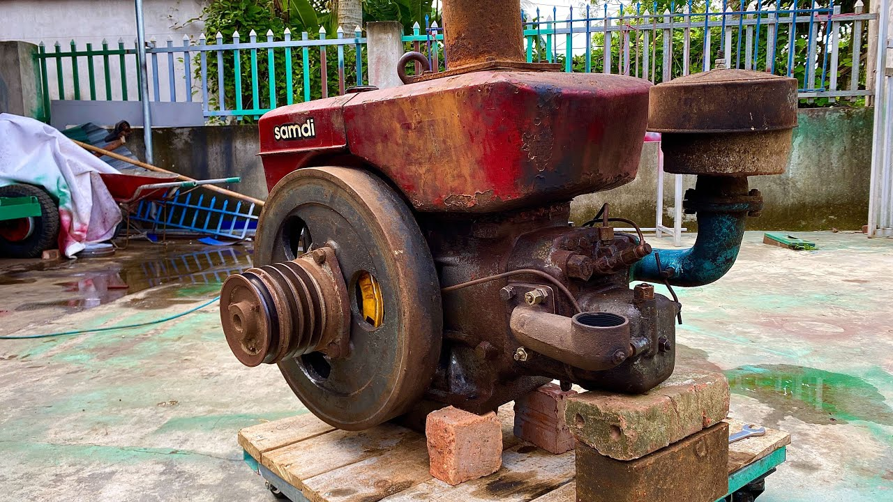 Restoration of old samdi D24 diesel engine | Restore and reuse the old rusty rice mill engine