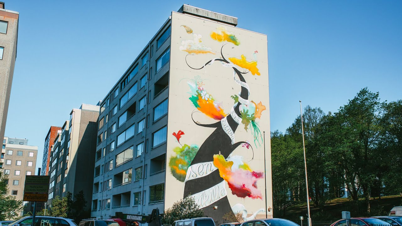 Time-lapse: Making of a Poetry Mural in Tampere, Finland