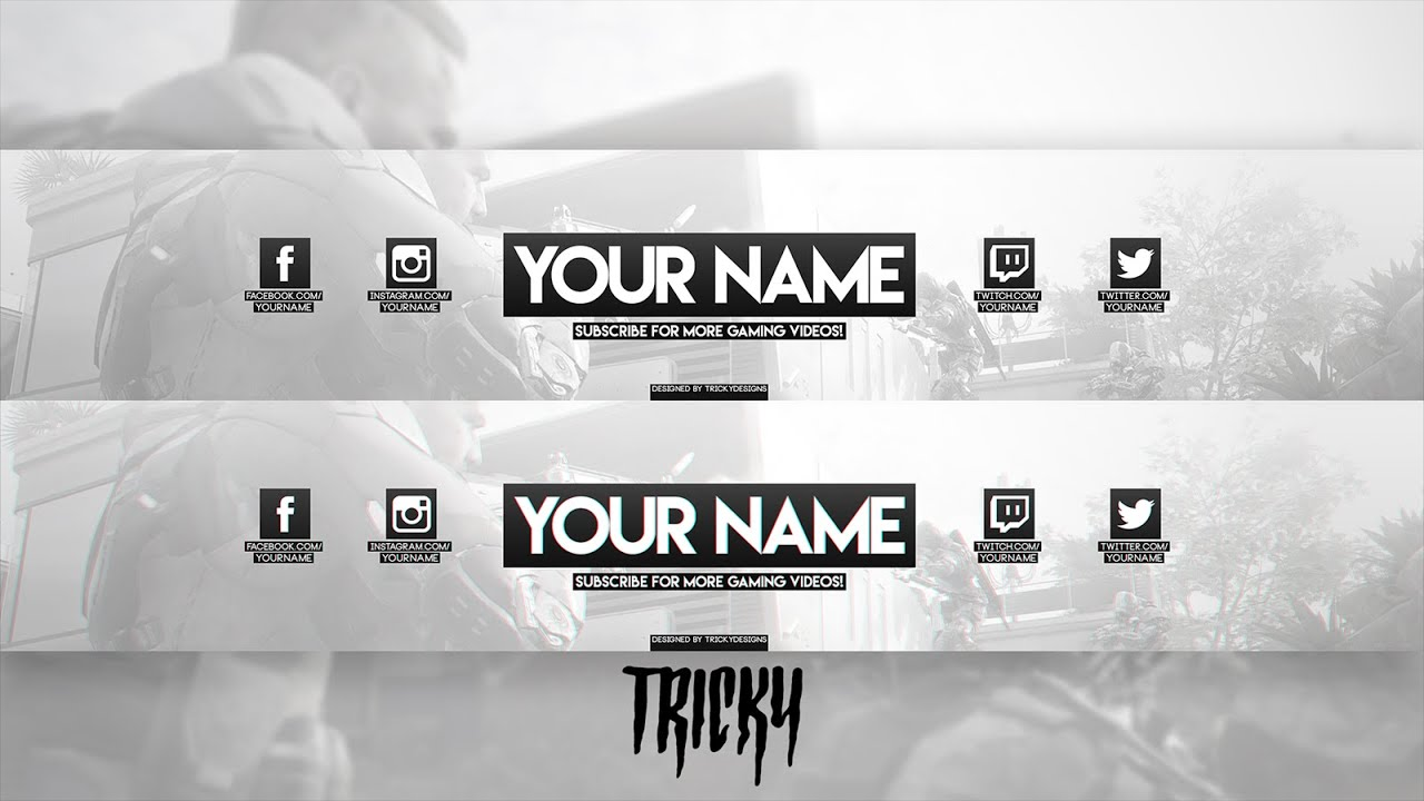 free clean non themed gaming banner template profile picture photoshop youtube. Black Bedroom Furniture Sets. Home Design Ideas