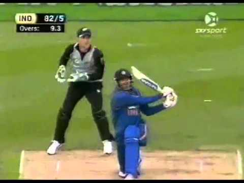 Yusuf Pathan Hits 3 Sixes and just gets out on 4th Vs Nathan McCullum