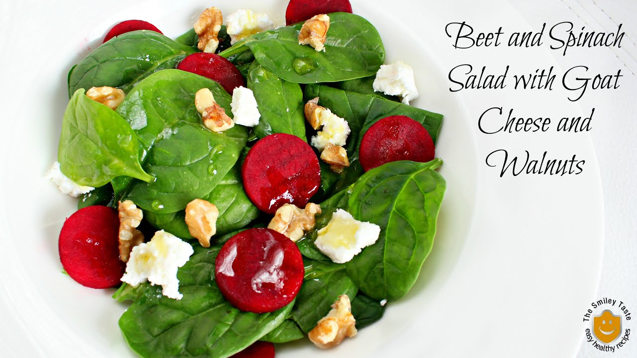 Beet and Spinach Salad with Goat Cheese and Walnuts recipe - YouTube