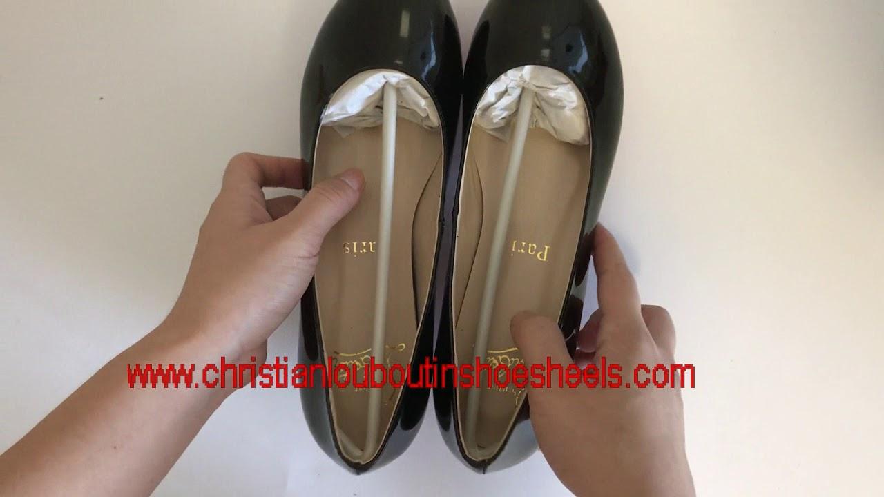 6c6be8bf5e07 Christian Louboutin fifi flat Black Patent Leather Womens - YouTube