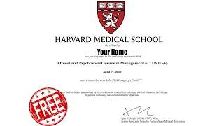 Free CME Accredited Certificates by Harvard Medical School || Online Webinars by HMS