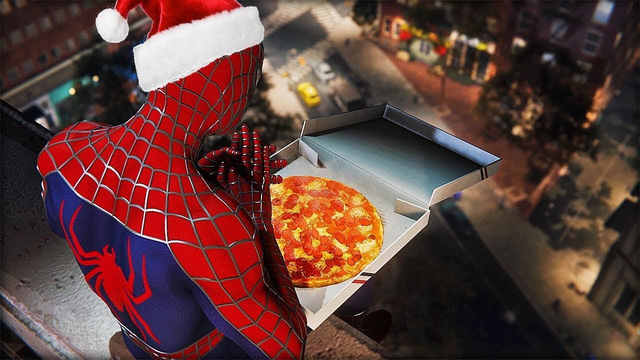 Spiderman Christmas.Merry Christmas With Pizza Time Raimi Suit Spider Man Ps4
