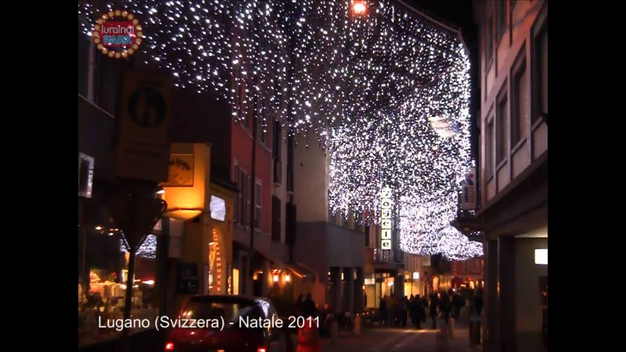 Tende luminose led bianchi flashled nel centro storico di lugano