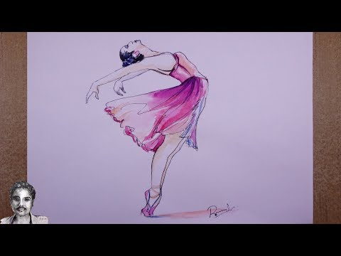 Watercolor Painting Easy Step by Step a Dancing Girl