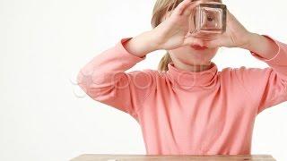 Obedient Girl Drink Water And Then Smacking. Stock Footage