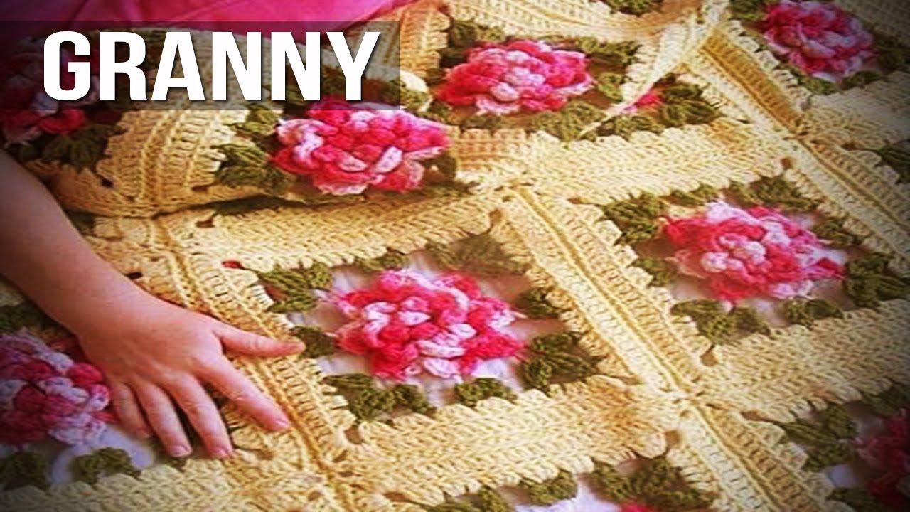 Mantas granny tejidas a crochet dise os youtube - Colchas tejidas a crochet ...