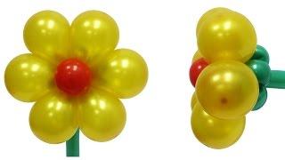 Золотой цветок из воздушных шаров