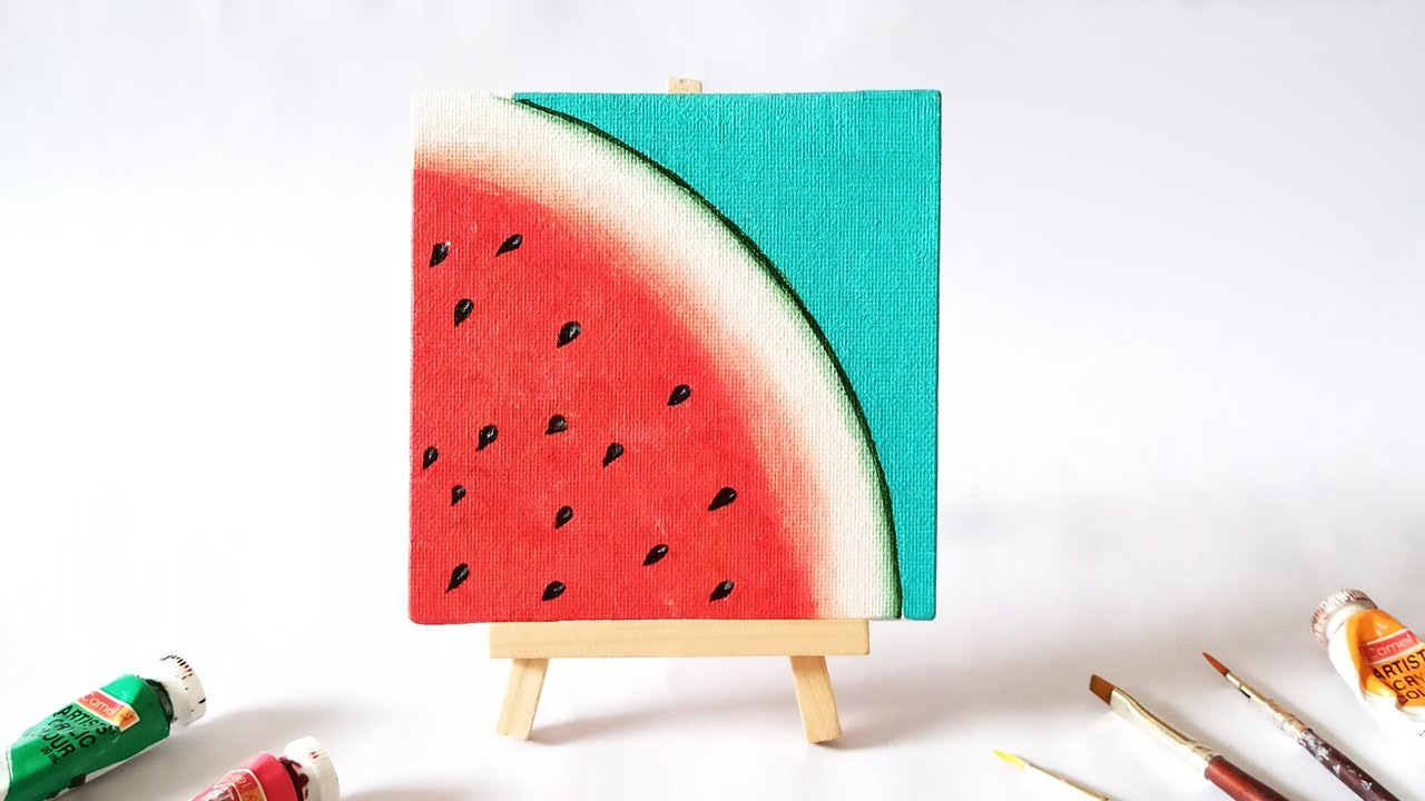 Watermelon Acrylic Painting For Beginners Step By Easy Mini Canvas Tutorial Youtube