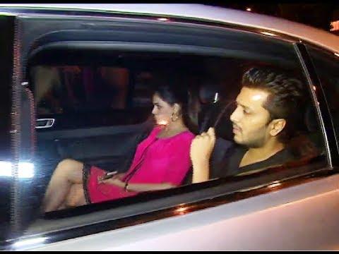 Ritesh Deshmukh with wife Geneia D'souza at Karan Johar's 42nd Birthday Party.
