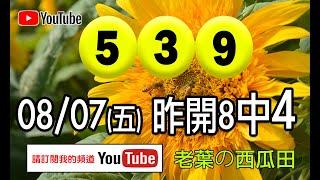 2020/08/07(五)今彩539 八月第一條「四星大魚」到手。(請記得要訂閱本頻道)