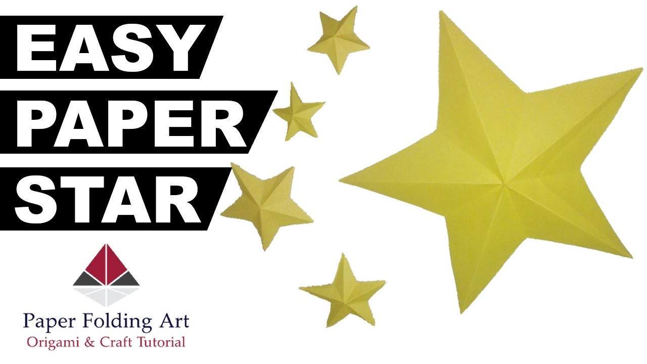 How to make easy paper star simple paper star ever origami for How to make a big paper star