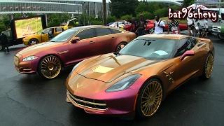 OUTRAGEOUS PINK/GOLD DUO: Jaguar XJL & Stingray Corvette on GOLD Forgiato Wheels - HD