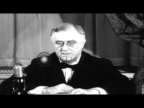 US President Franklin Roosevelt addresses the nation regarding the lend lease aid...HD Stock Footage